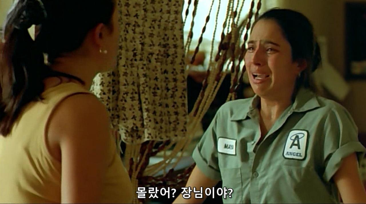 <빵과 장미> 마야와 로사가 눈물범벅으로 대화하며 서로를 새로 알게 된다.