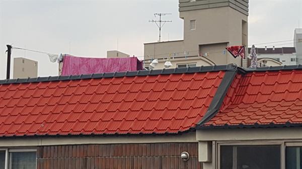 이웃빌라 옥상 빨래줄에 걸린 마스크