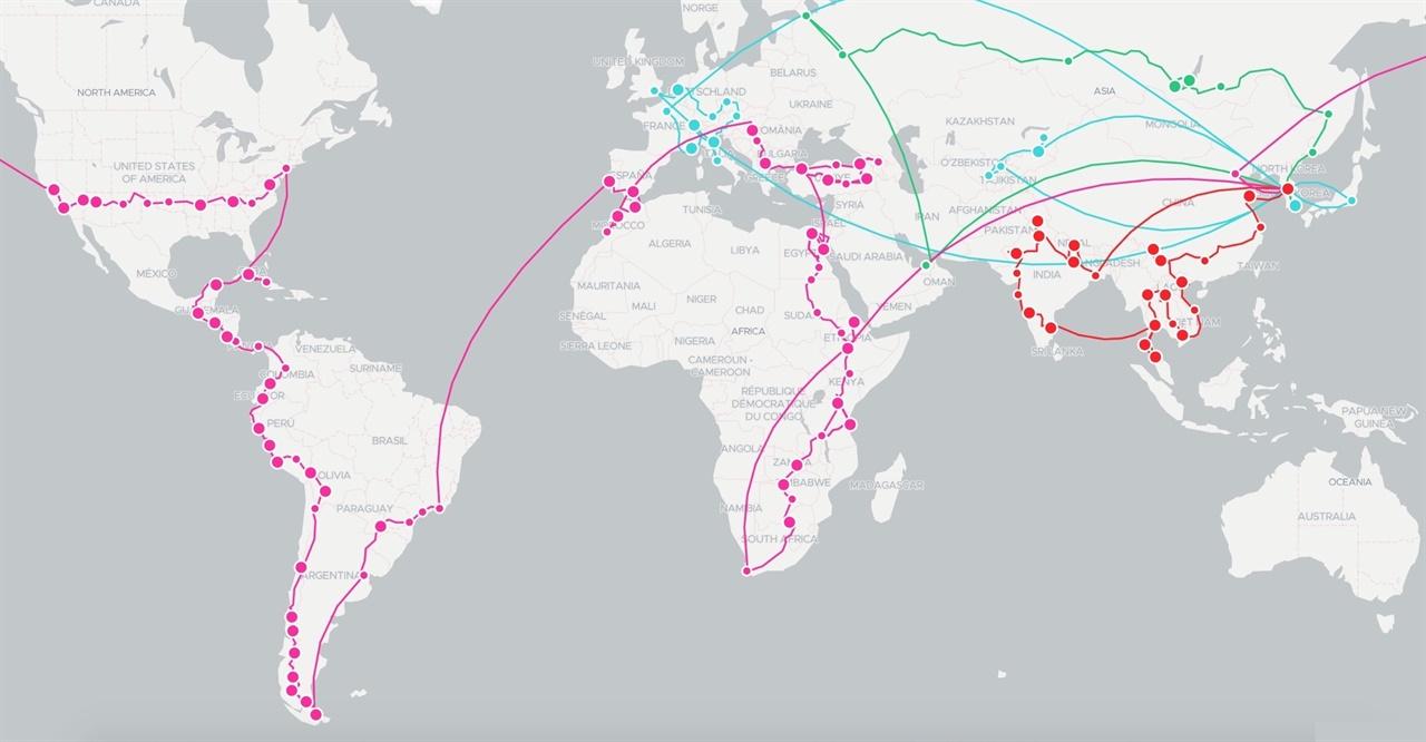유최늘샘의세계방랑기 세계 일주 여정을 표시한 지도. 미국 샌프란시스코부터 남아프리카공화국 희망봉까지 이어진 분홍색 선이 아메리카-아라비아-아프리카로 여행한 535일 동안의 경로다.