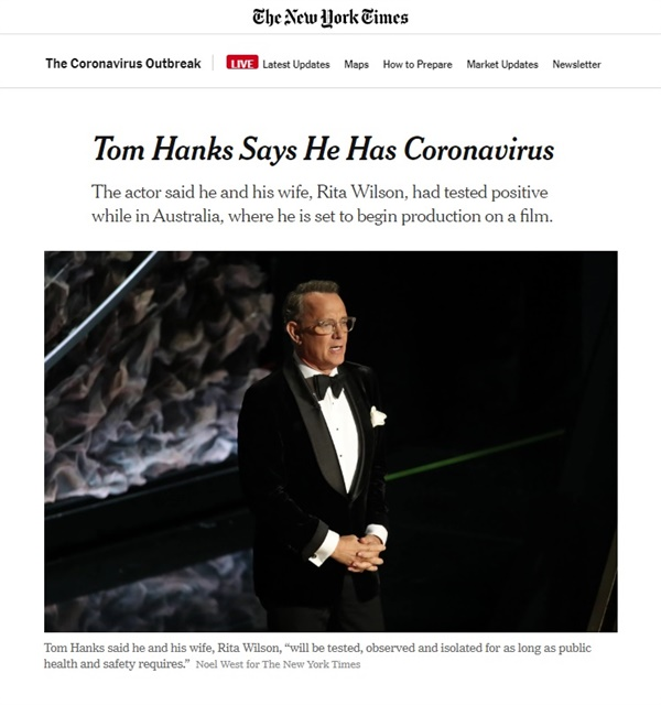 톰 행크스 부부의 코로나19 확진 판정을 보도하는 <뉴욕타임스> 갈무리.