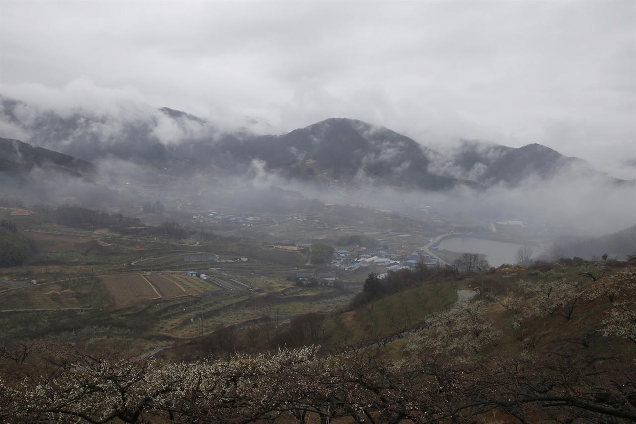 비구름이 넘고 있는 원달재 아래 순천 월등마을 전경. 지난 3월 7일 풍경이다.