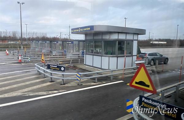 덴마크와 스웨덴 국경 검문소.