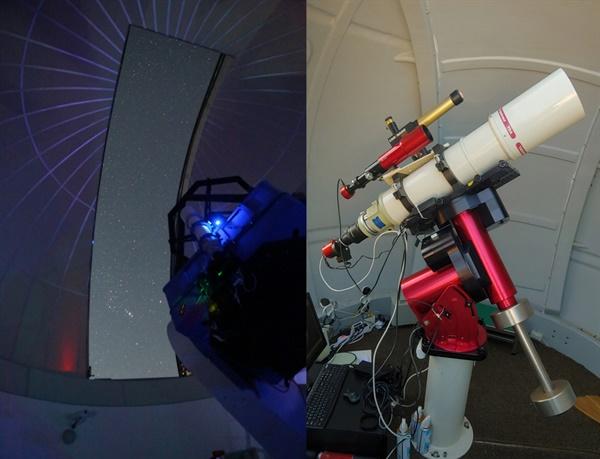 혜성 촬영에 사용된 장비 (오른쪽) NYSC 1m 반사망원경 (왼쪽)150mm 굴절망원경, 파라마운트 MEII, Scope Dome 3M