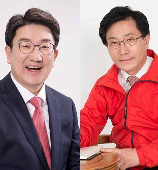 무소속 권성동 의원(왼쪽)과 최명희 전 강릉시장
