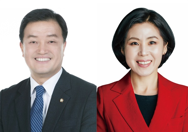 4.15총선에 출마한 윤준호(왼쪽) 더불어민주당 후보, 김미애 미래통합당 후보