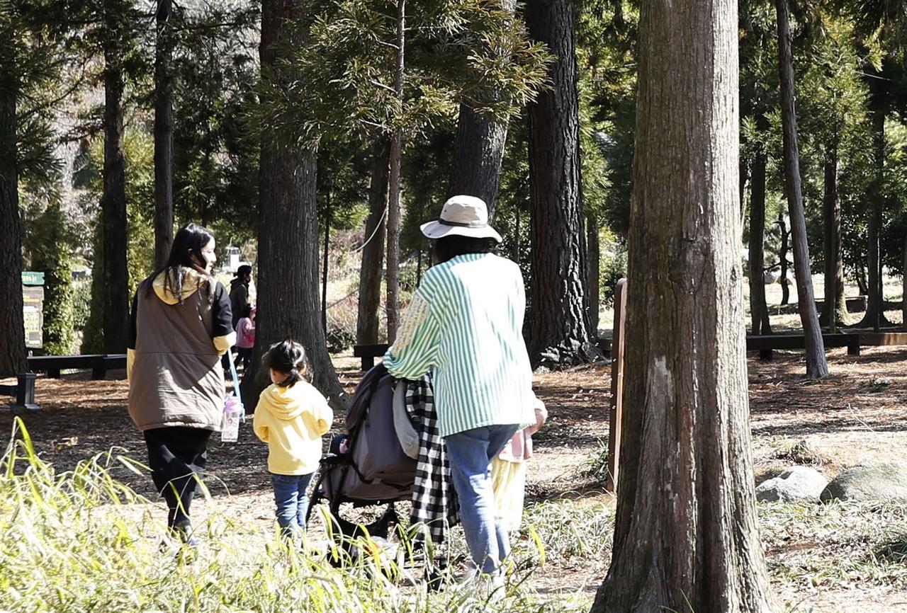 코로나19를 피해 전남산림자원연구소를 찾은 엄마들이 아이와 함께 숲을 걷고 있다. 지난 3월 19일이다.