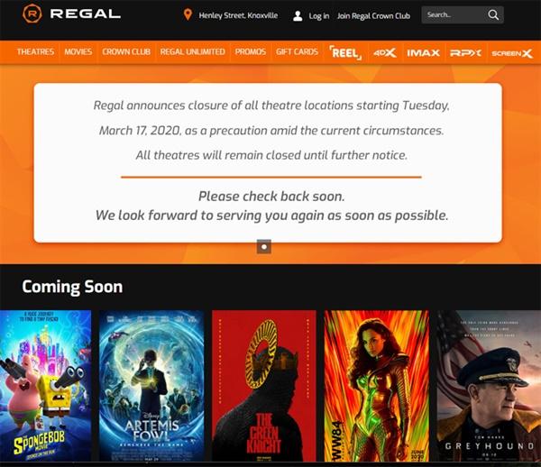 미국 대형 극장 체인 리갈시네마는 자사 홈페이지를 통해 코로나로 인한 전국 극장 운영 중단을 공지했다. ( https://www.regmovies.com/ )