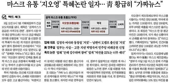 △ 청와대가 '황급히' 마스크 공급업체 관련 허위조작정보를 진화했다고 보도한 조선일보(3/10)