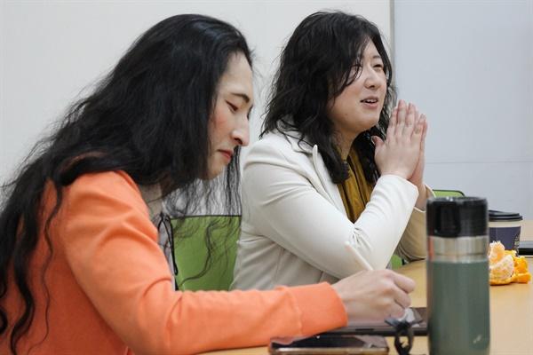 김기홍 녹색당 비례대표 후보(왼쪽), 임푸른 정의당 비례대표 후보(오른쪽)