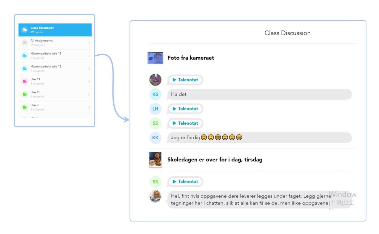 노르웨이 초등학교 온라인 교실 채팅방  노르웨이 초등학교 1학년 온라인 교실 채팅방에서는 담임 교사와 학생들의 소통이 활발하게 이루어지고 있다.