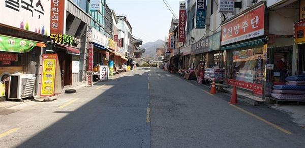 전주남부시장에서 풍남문과 전주한옥마을 방향을 바라보고 있다.