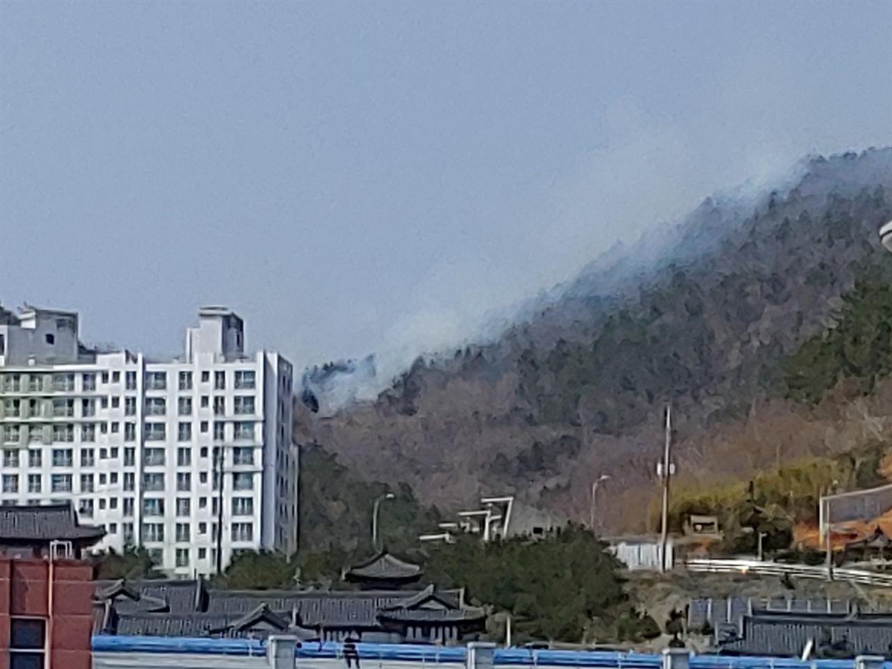 방화범이 불을질러 마래산에 산불이 번지고 있는 모습