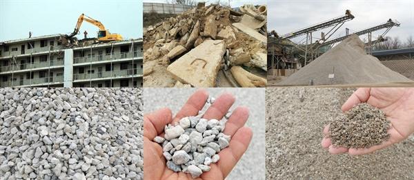 철거된 아파트 콘크리트가 굵은 골재와 모래로 다시 거듭나고 있다.
