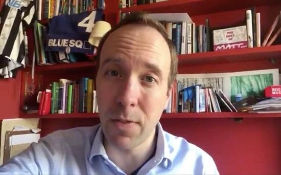 코로나 확진 판정을 받은 맷 핸콕(Matt Hancock) 영국 보건복지부 장관.