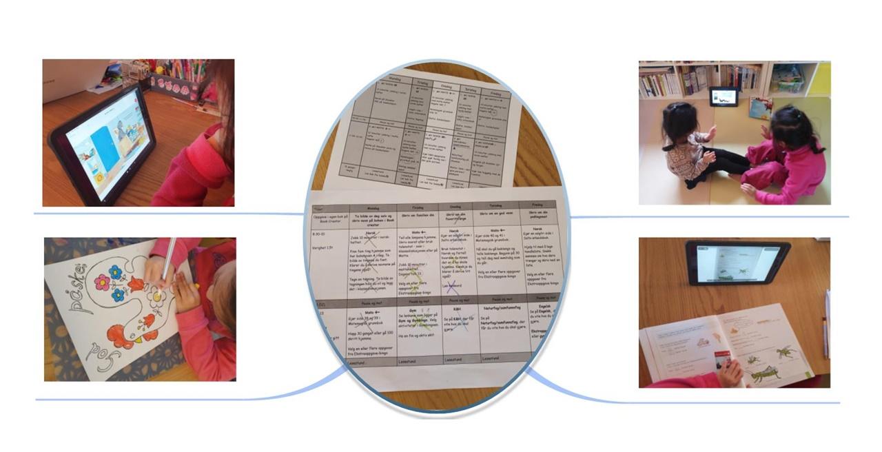 온라인 수업 일정표 및 과제 활동 모습 노르웨이에서는 코로나19 감염 확산 방지를 위해 모든 학교의 등교가 중지된 직후부터 온라인 수업을 진행하고 있다. 지난 2주간의 수업 일정표 및 과제 활동 모습.