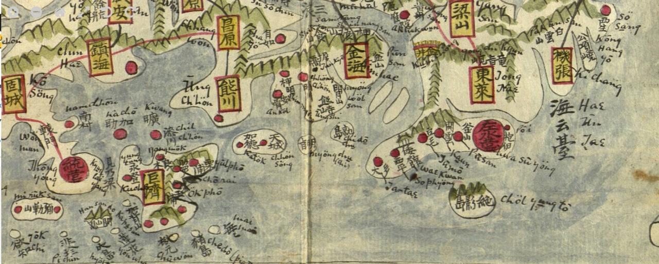 조지 포크의 여지도 19세기 중기 조선지도에 영자 표기