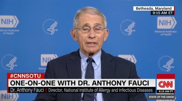앤서니 파우치 미국 국립 알레르기·전염병 연구소 소장의 CNN 인터뷰 방송 갈무리.