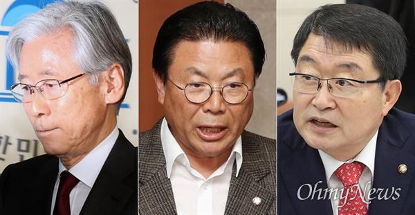 선거보조금 지급일 전날 미래한국당 당적변경 소식이 알려진 여상규, 박맹우, 백승주 의원(사진 왼쪽부터).