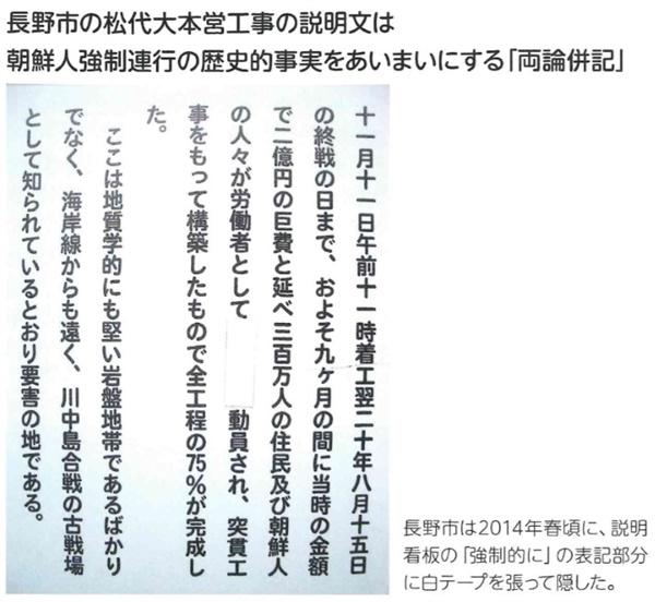 '강제'라는 어휘가 흰색 테이프로 가려진 2014년 나가노시의 간판.