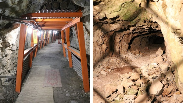 (좌) 일반인 공개를 위해 안전 장치를 설치한 지하도, (우) 당시의 작업 현장을 느낄 수 있는 굴