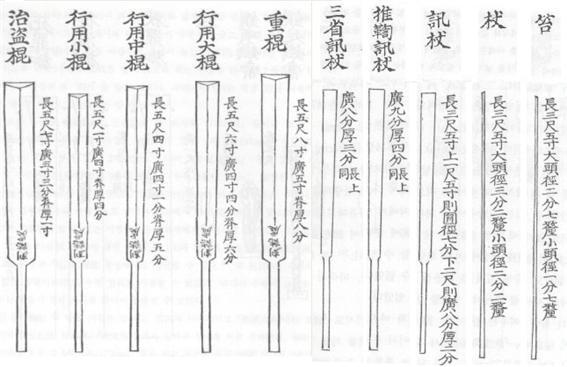 형벌에 사용되는 매의 규격. 오른쪽에서 두 번째가 장이다.