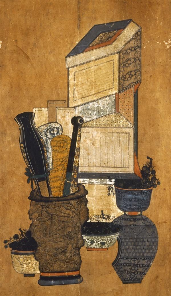 도16 조선민화 책거리. 19세기. 높이 128.4cm. 일본민예관.