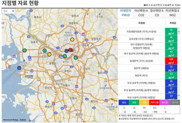 실내공기질 관리 종합정보망 홈페이지