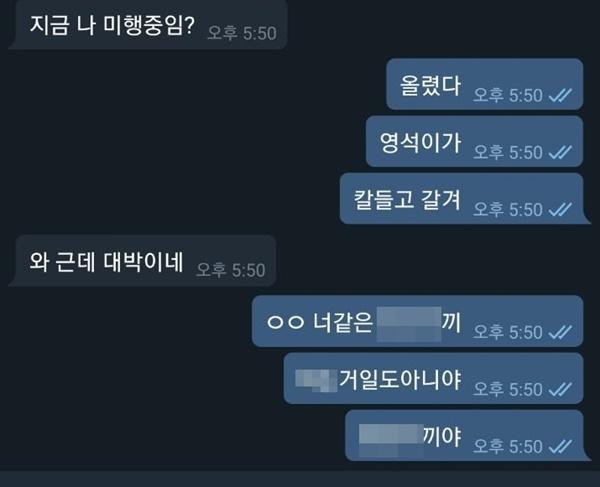 '박사방' 운영자 조주빈과 '완장방' 운영진 중 한 명인 '미희'가 텔레그램으로 나눈 대화.
