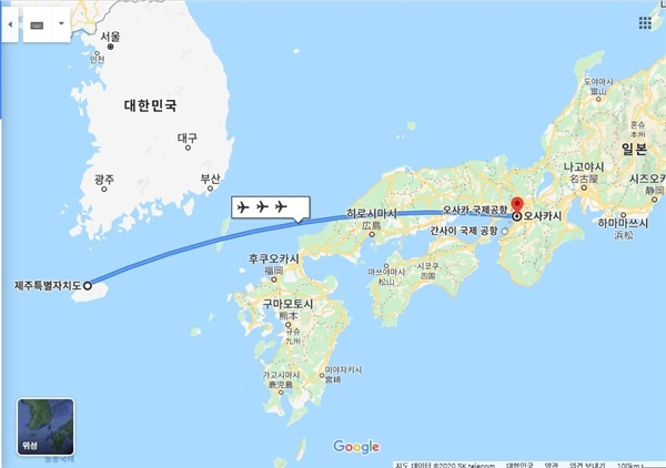 제주도와 오사카. 구글 지도에 약간의 편집을 가한 그림이다.