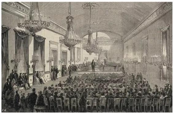 쇼팽이 연주했던 플례엘홀.(에두아르 르나르의 스캐치를 바탕으로 한 목판화, illustration 9.june.1855)