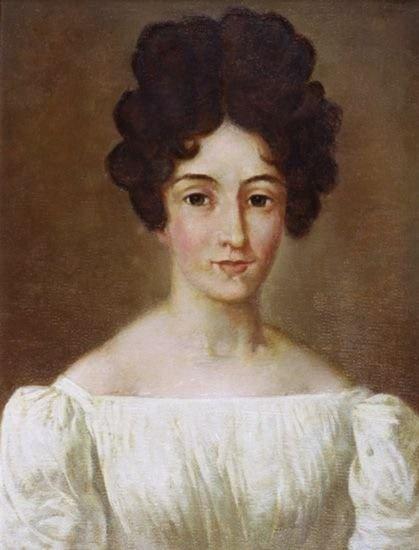 루드비카. 쇼팽의 누나. 2차대전 중 잃어버린 암브로지 미에로제프스키의 1829년 그림을 얀 자모이스키가 복원한 것. 1969년. 폴란드 국립 쇼팽협회 소장.