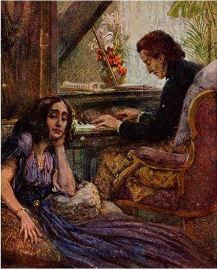 피아노 치는 쇼팽과 그것을 듣고 있는 상드. 우편엽서. Adolf Karpellus. 1917.  Wikigallery