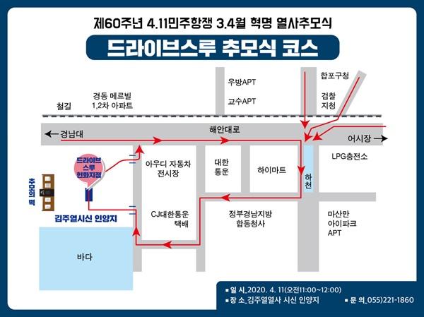 마산 4.11민주항쟁 '드라이브 스루 헌화' 차량 이동로.