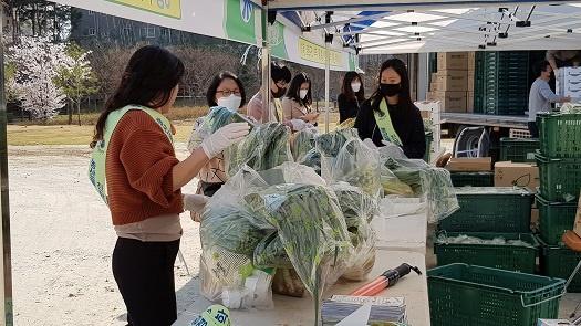 홍성유기농영농조합과 홍성군이 유기농산물을 판매하고 있다.