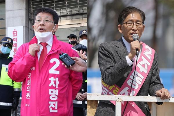 경기 부천병에 출마한 미래통합당 차명진 후보(왼쪽)와 광주 서구갑에 출마한 미래통합당 주동식 후보