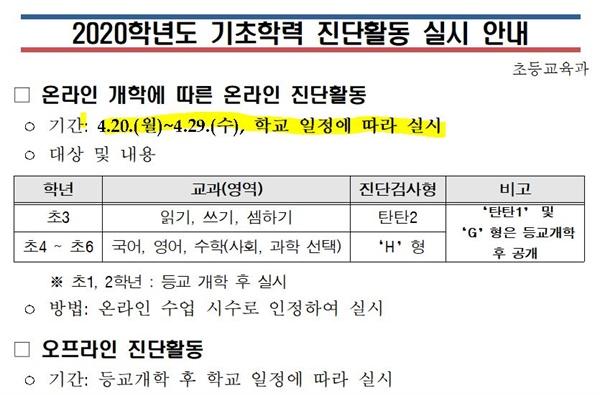 지난 6일 서울시교육청이 이 지역 초등학교에 보낸 공문.