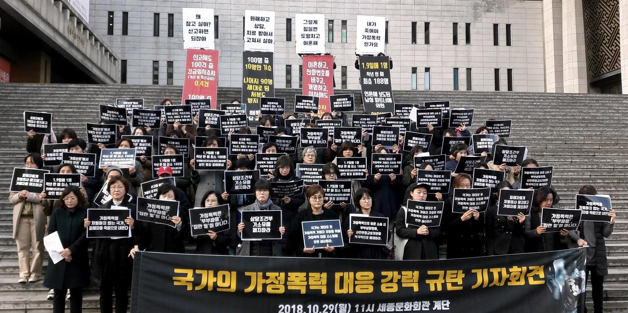 2018년 10월 29일, 한국여성의전화 등 총690개 단체가  주최한 '국가의 가정폭력 대응 강력규탄 기자회견'