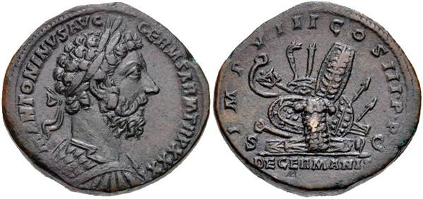 로마 주화에 새겨진 마르쿠스 아우렐리우스 안토니우스.