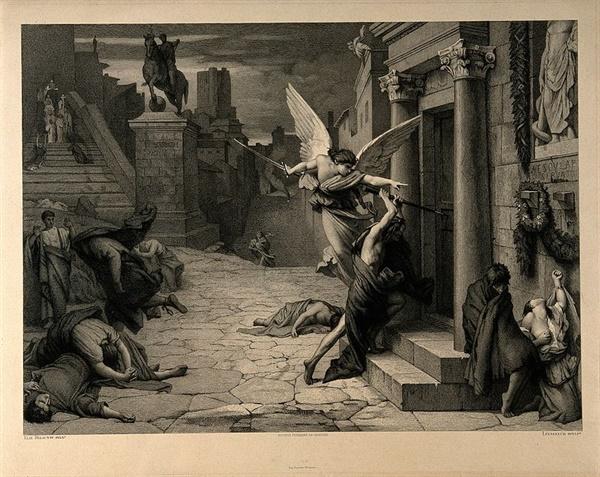 죽음의 천사가 문을 두드리는 모습. 로마제국의 전염병을 묘사한 그림이다. 19세기 프랑스 화가 쥘 엘리 들로네(Jules-Elie Delaunay)의 작품.