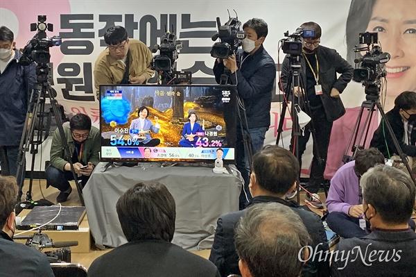 15일 오후 6시 15분께 21대 총선 출구조사 결과 나경원 미래통합당 후보(서울 동작을)가 패배하는 것으로 나오자 지지자들이 침통한 표정으로 TV를 바라보고 있다.