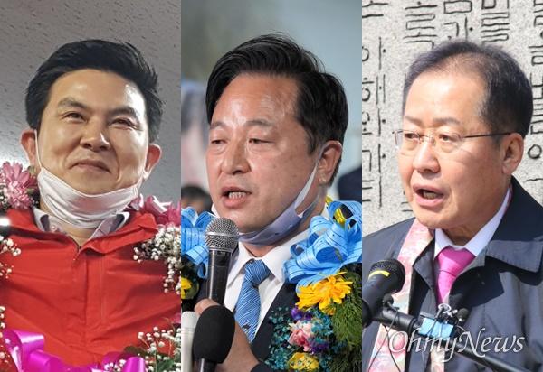 경남지사 출신으로 제21대 국회의원선거에 당선한 김태호, 김두관, 홍준표 당선인.