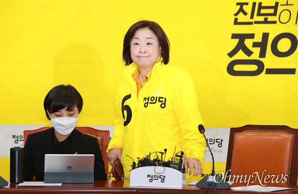 정의당 심상정 대표가 16일 오전 여의도 국회에서 열린 21대 총선 선대위 해단식에 참석하고 있다.