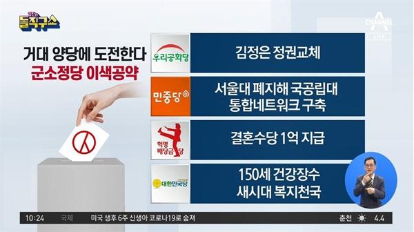 군소정당 공약을 흥밋거리만 소비한 채널A <김진의 돌직구쇼>(4/2)