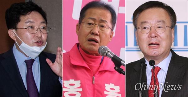왼쪽부터 김용태 미래통합당 의원, 홍준표 전 자유한국당 대표, 강효상 통합당 의원.