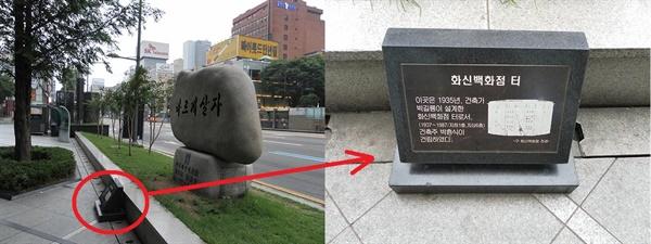 화신백화점 터. 서울지하철 1호선 종각역 출구 근처에 있다. 보신각 맞은편이다.