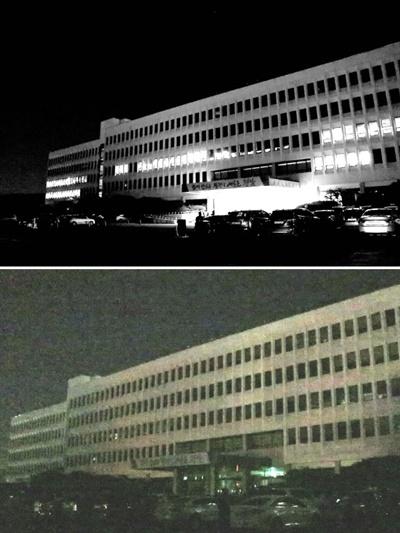 4월 22일 오후 8시 소등행사가 벌어지기 전(위)과 후(아래)의 경남도청 건물.