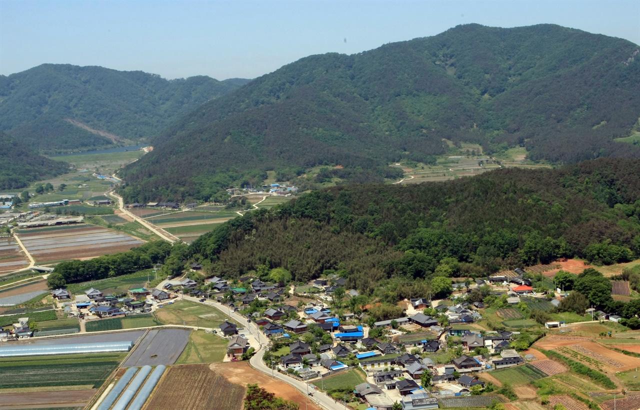 하늘에서 내려다 본 모평마을 풍경. 임천산 아래에 집들이 옹기종기 모여있다.