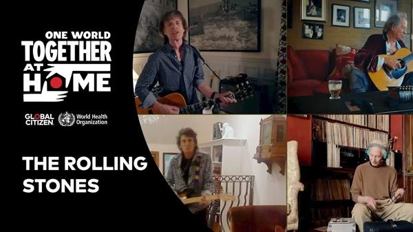 팝스타 레이디 가가와 WHO가 함께 주최한 '원 월드 : 투게더 앳 홈'은 전세계 유명 뮤지션들의 합동 온라인 공연을 유튜브로 생중계하여 상당한 모금액을 확보했다. '원 월드'에서 노래하는 밴드 롤링 스톤스의 모습.
