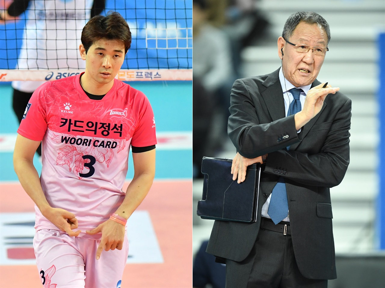 노재욱 선수(왼쪽)-박기원 감독