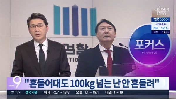 △ 윤석열 총장이 몸무게를 단독으로 보도한 TV조선(4/10)